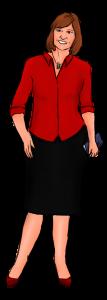 vrouw in rode blouse met schrijfattriburen