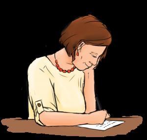 getekende vrouw die verhaal schrijf over eigen leven